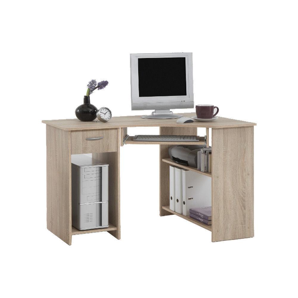 'Felix' Corner Computer/PC Desks/Tables With Drawer & Storage - flick oak