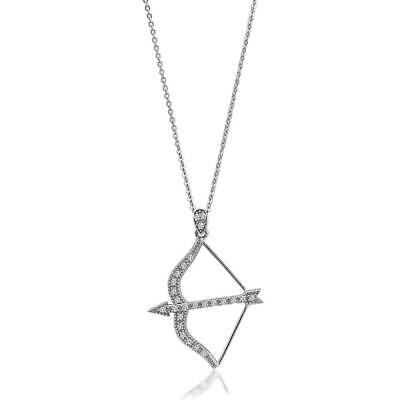 BERRICLE Sterling Silver Cubic Zirconia Bow and Arrow Fashion Pendant Necklace