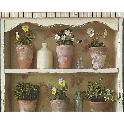 (AS Creation Flower Pot Mural Wallpaper Garden Shelf Painted Realistic 306481)