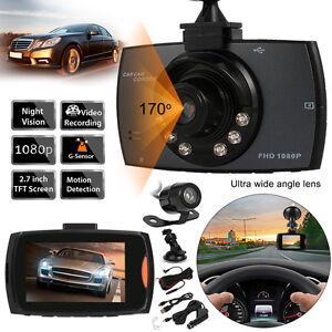 Dual Kamera 2.7HD 1080P KFZ Vehicle DVR Dashcam Auto Vehikel Car G-Sensor LED