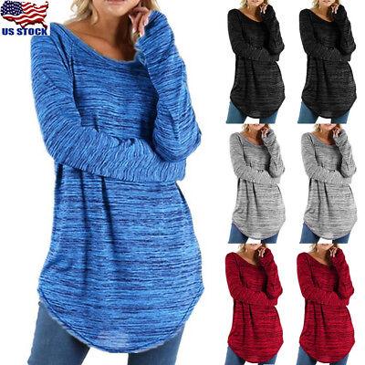Crew Long Sleeve Tunic (Women Long Sleeve Crew Neck Tunic Tops Sweater Round Hem Casual Cotton Blouse)