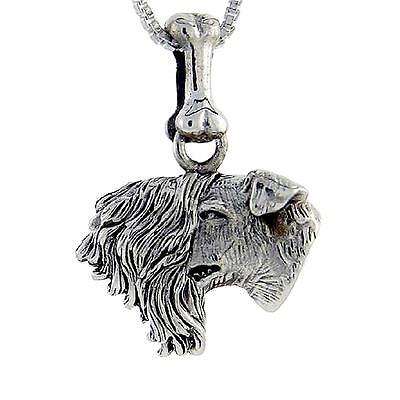 (Sterling Silver Kerry Blue Terrier Dog Head Pendant / Charm, 18
