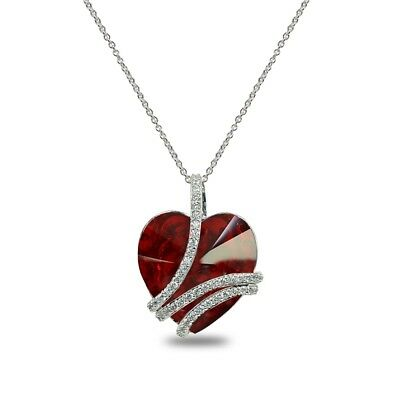 Swirl  My Love Forever  Heart Necklace Made With Swarovski Crystal  4 Colors