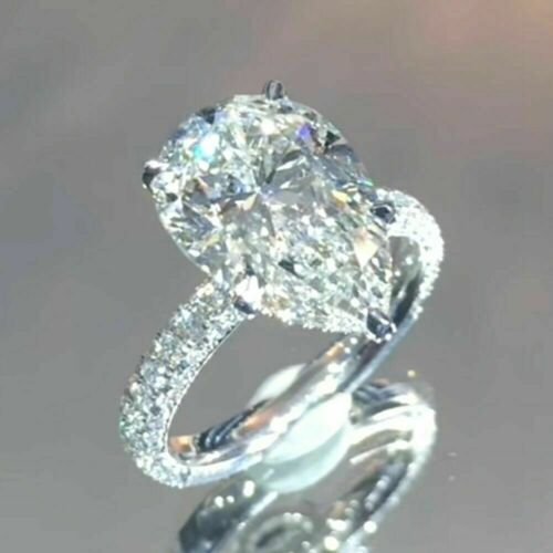 3.50Ct White Pear Cut VVS1 Diamond Big Engagement Ring in Solid 14k White Gold