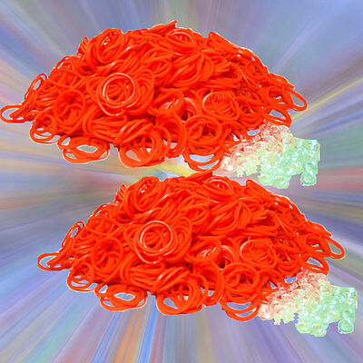 1200 PK Loom Refill Rubber Band & S-Clips All ORANGE ~10 Color Rainbow Available