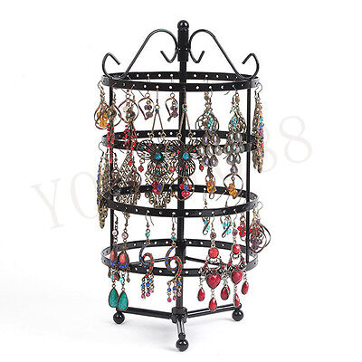 144 Holes Black Metal Jewelry Hanger Rotating Stand Earring Display Holder Rack