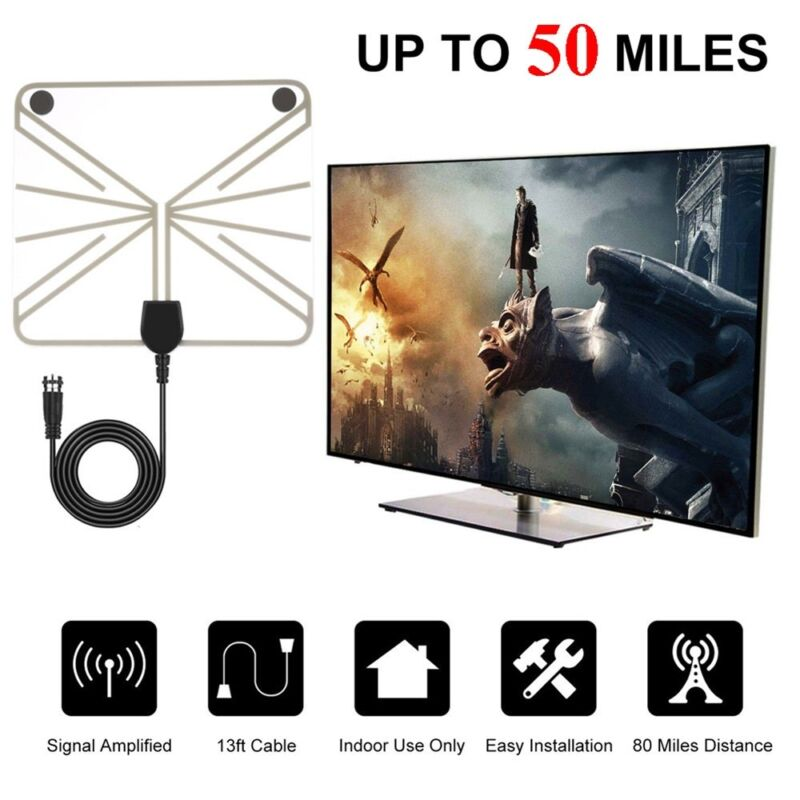 50-100 Mile Range Hd Digital Tv Receiving Antenna Clear View Amplified Booster