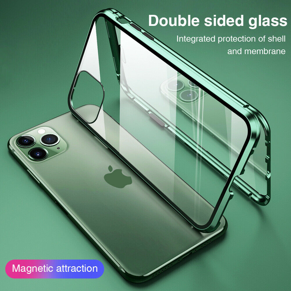 360° Case for iPhone 11 Pro Max 12 XR X Magnetic Adsorption Tempered Glass Cover
