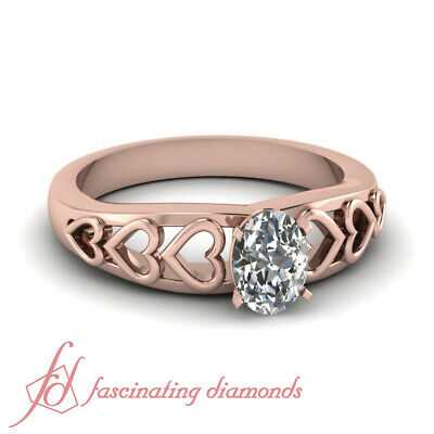 .40 Ct Real Diamond Engagement Rings in Rose Gold Oval Diamond GIA Ring Size 3-9