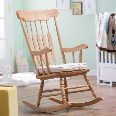 - Traditional Classic Spindle Styled Natural Wood Rocking Chair Nursery Rocker