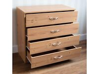 NEW Pine Chest Of Drawers 4 Drawer Metal Handles Runners Wooden Bedroom Furniture