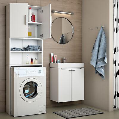 VICCO Waschmaschinenschrank 190 x 64 cm in Weiß Badmöbel Badschrank Hochschrank