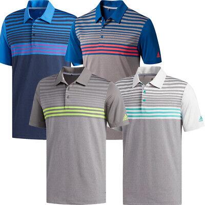 Adidas Golf 2019 Mens Ultimate365 3-Stripes Heather Short Sleeve Polo Shirt