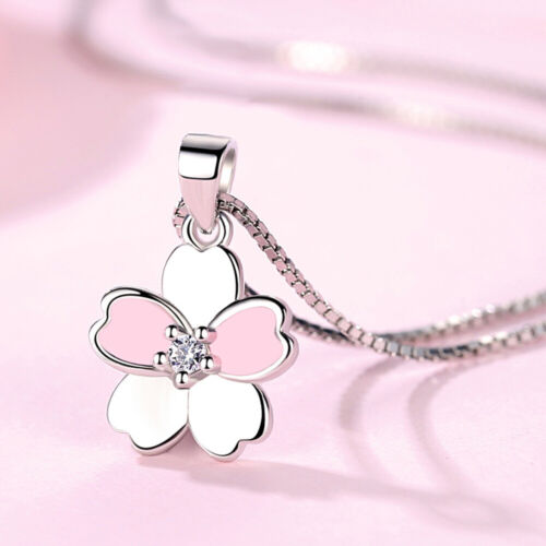 Cherry Blossoms Flowers Necklaces 925 Sterling Silver Flower Pendants Necklace for Women Jewelry Gifts Pink