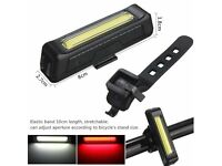 (2216) NEW, 100LM LED USB Rechargeable FRONT or REAR BIKE BICYCLE FLASHLIGHT LIGHT LAMP+MOUNT