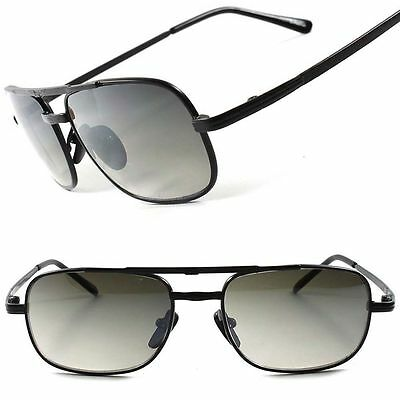Vintage Retro Old Fashion Cool Urban Mens 80's 90's Black Rectangle Sunglasses