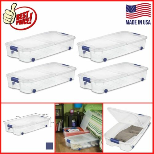 4 PACK Under Bed Storage Box 66 Qt Clear Container Stackable Rolling Organizer