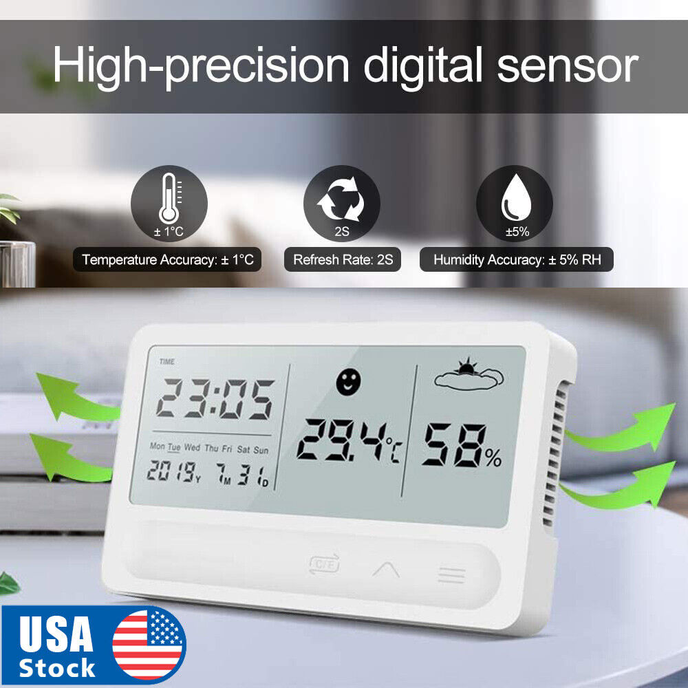LCD Temperature Humidity Meter Indoor Digital Hygrometer Thermometer with Clock Home & Garden