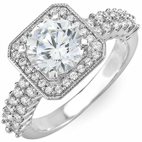Round Brilliant Cut Diamond Engagement Ring GIA Certified 2.25 Carat 14k Gold