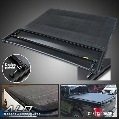 6.5ft Bed Truck Black Soft Four-Fold Tonneau Cover For 09-14 Ford F-150 Extra