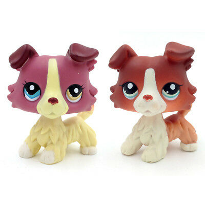 2* LPS#1262 1542 Purple Cream Dog Littlest Pet Shop Collie Dog Hasbro Kids Gift