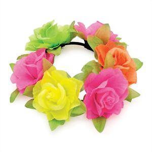 Flower Bun Garland Floral Head Knot Hair Top Scrunchie Band Elastic Bridal