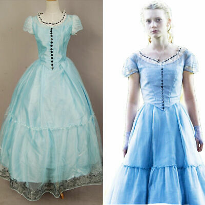 Tim Burton Alice In Wonderland Alice Costume Blue Dress Cosplay Party Dress Prom - Alice In Wonderland Tim Burton Dress