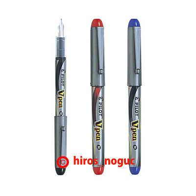 Pilot V Pen Vpen Disposable Fountain Pen, Black Red Blue Ink, Medium Point 3 Set