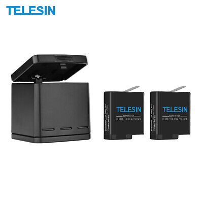 TELESIN Camera Battery Charger Charging Box + 2*Battery For GoPro Hero 5/6/7