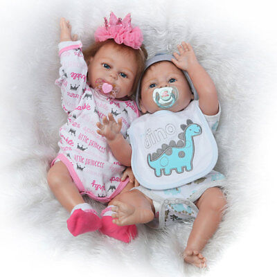 "2 Pcs Reborn Twins Dolls 20"" Boy Girl Full Body Silicone Reborn Baby Doll"