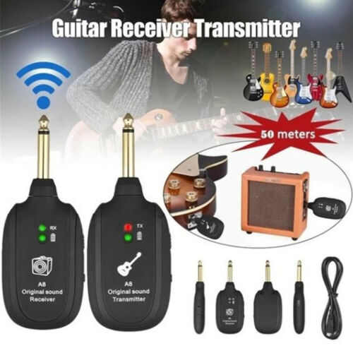 UHF Guitar Wireless System Transmitter+Receiver Built In Rechargeable Battery US Microphones & Wireless Systems