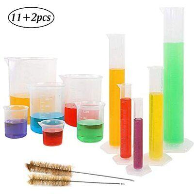 5pcs Plastic Graduated Cylinder Set 10 25 50 100 250ml And 6pcs Beaker 250