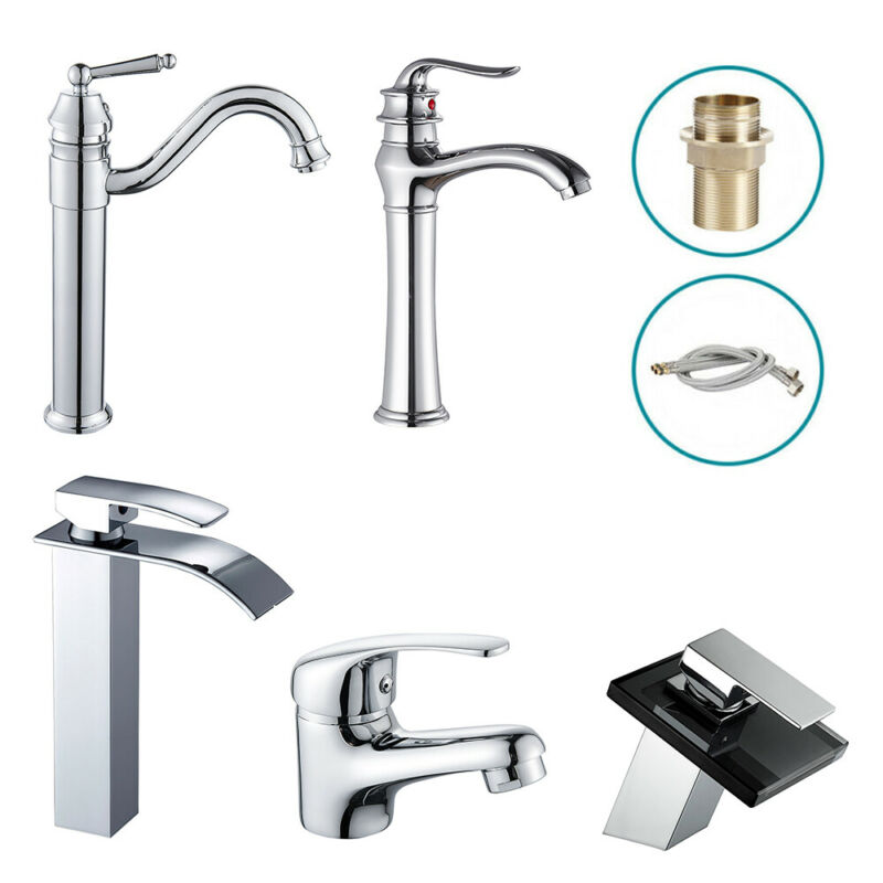 Modern Chrome Bathroom Cloakroom Single Lever Spout Mono Basin Mixer Tap Faucet