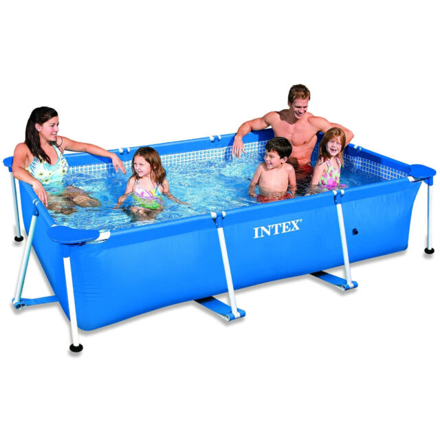 INTEX Family Swimming Pool Frame Rechteck 300x200x75cm Schwimmbecken