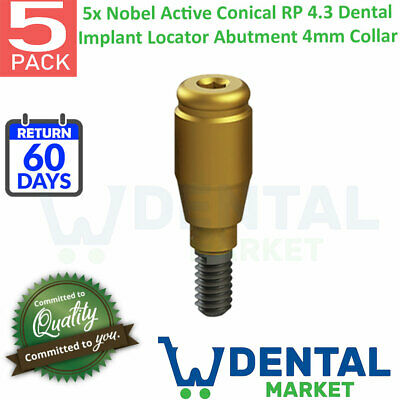 X 5 Nobel Active Conical Rp 4.3 Dental Implant Locator Abutment 4mm Collar