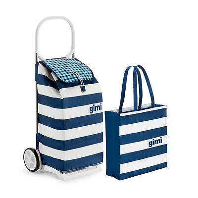 Einkaufsroller + Tasche Italo Blau Steifen 52 L Shopping Trolley Einkaufstrolley