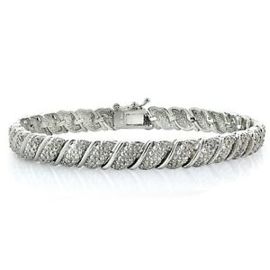 1ct TDW Diamond Fancy Tennis Bracelet - Free Shipping