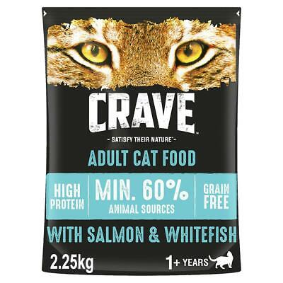 2.25kg Crave Grain Free Natural Adult Dry Cat Food Salmon & Whitefish (3 x 750g)