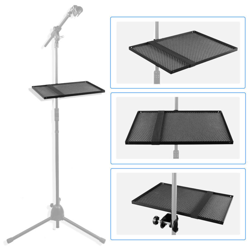 Music Tray Rack Sheet Metal Mounted on Microphone Stand, Music Sheet, Drum Stand