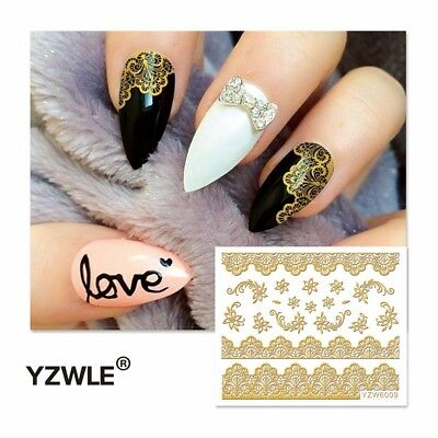 Nagelsticker  Fingernägel Aufkleber Tattoo Nail Art Nageldesign 6009 gold