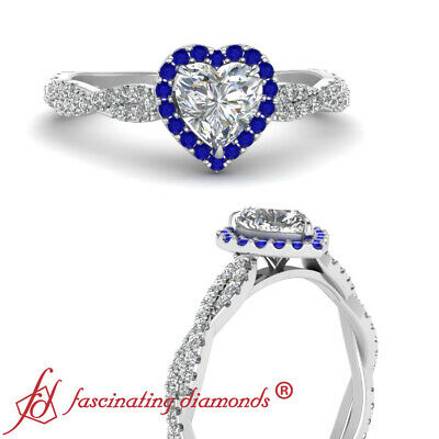 Heart Shaped Diamond And Sapphire Halo Infinity Twist Engagement Ring 3/4 Carat