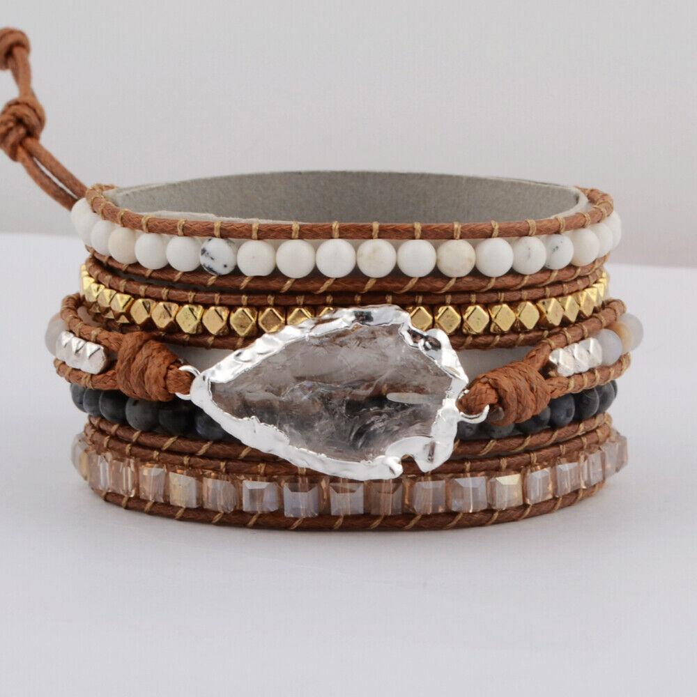Unisex Handmade Silver Clear Quartz Crystal Stone Beaded Rope Wrap Bracelet BOHO