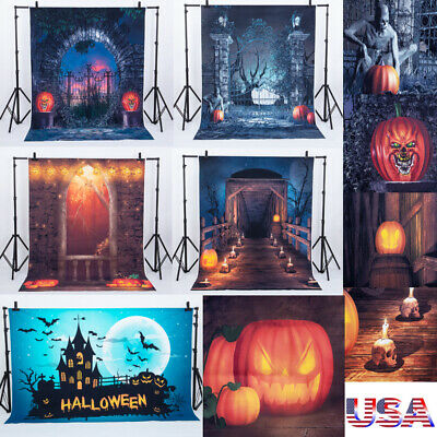 Halloween Party Photo Backdrop (US Durable Halloween Party Background Pumpkin Decor Backdrop Haunted House)