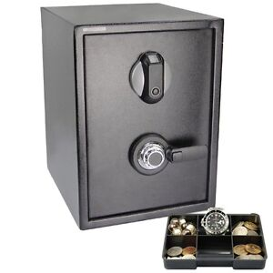 Fingerprint+Combination Lock Safe Gun Cash Box Home Security Biometric Keyless