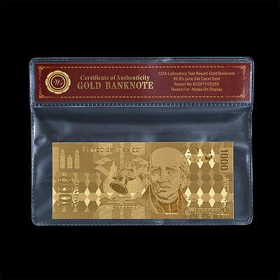 WR Mexico 1000 Pesos Gold Banknote Gold Foil Crafts Gift In Protective Sleeve