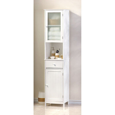 "70 7/8"" TALL ** LAKESIDE WHITE WOOD TALL STORAGE CABINET or LINEN CABINET - Tall Linen Cabinet"