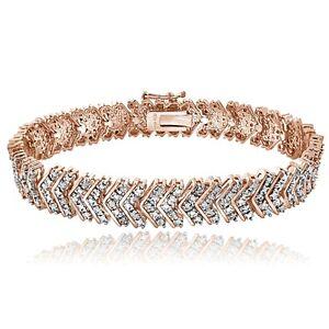 18K Rose Gold Brass 1ct TDW Natural Diamond Chevron Bracelet