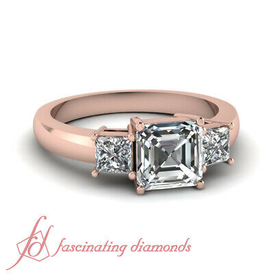 1.10 Ct Asscher Cut Three Stone Diamond Rings And Bands For Women Rose Gold GIA