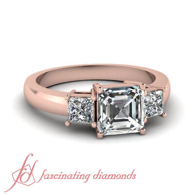1.10 Ct Asscher Cut Three Stone Diamond Rings And Bands For