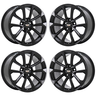 "18"" CADILLAC ATS-V GLOSS BLACK WHEELS RIMS FACTORY OEM SET 4766 4768 EXCHANGE"